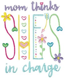Mom In Charge embroidery design