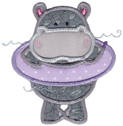 Hippo Applique embroidery design