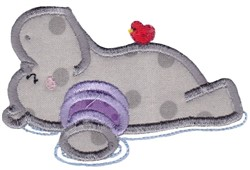 Floating Hippo embroidery design