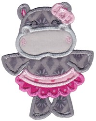Ballerina Hippo embroidery design