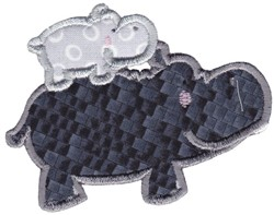 Hippo Baby embroidery design