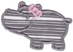 Girl Hippo embroidery design