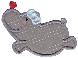 Hippo & Red Bird embroidery design
