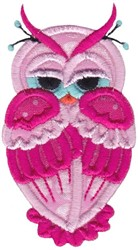 Pink Applique Owl embroidery design
