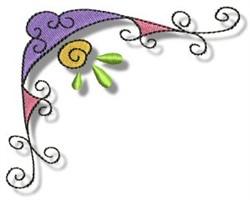 Swirly Floral Corner embroidery design