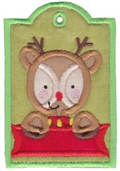 Reindeer Tag embroidery design