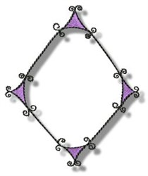 Curly Diamond Frame embroidery design