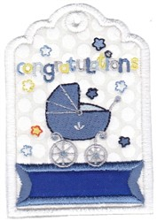 Congratulations Baby Gift Tag Applique embroidery design