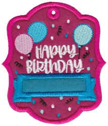Happy Birthday Gift Tag Applique embroidery design