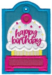 Happy Birthday Cupcake Gift Tag Applique embroidery design