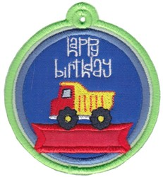Happy Birthday Truck Gift Tag Applique embroidery design