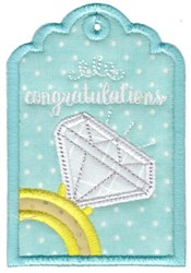 Congratulations RIng Gift Tag Applique embroidery design