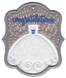 Congratulations Wedding Gift Tag Applique embroidery design