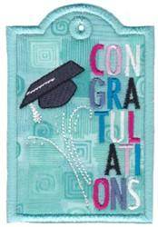 Congratulations Graduation Gift Tag Applique embroidery design