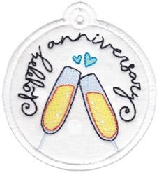 Happy Anniversary Gift Tag Applique embroidery design