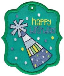 Birthday Hat Gift Tag Applique embroidery design