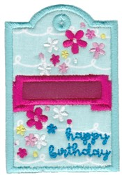 Floral Happy Birthday Gift Tag Applique embroidery design