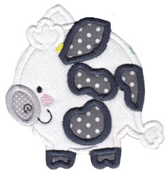 Round Cow Animal Applique embroidery design