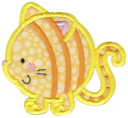 Round Cat Animal Applique embroidery design