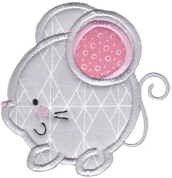 Round Mouse Animal Applique embroidery design