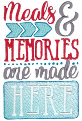 Meals & Memories embroidery design