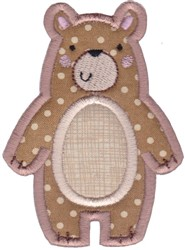 Boxy Forest Animals Applique Bear embroidery design