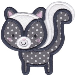 Boxy Forest Animals Applique Skunk embroidery design