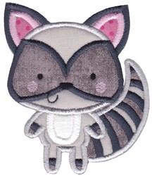 Boxy Forest Animals Applique Raccoon embroidery design