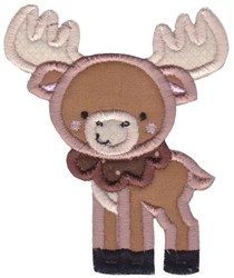 Boxy Forest Animals Applique Moose embroidery design