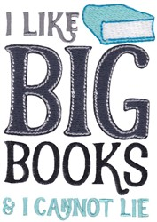 I Like Big Books embroidery design