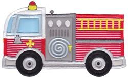 Lets Go Fire Engine Applique embroidery design