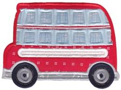 Lets Go Double Decker Bus Applique embroidery design