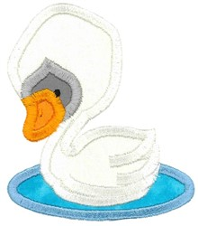Boxy Swan Applique embroidery design