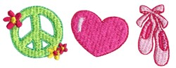 Peace Love Ballet Shoes embroidery design
