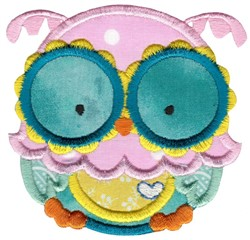 Adorable Owls Applique 3 embroidery design