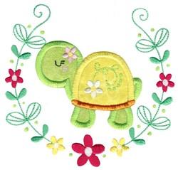 Applique Turtle & Laurel embroidery design
