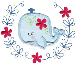 Applique Whale & Laurel embroidery design