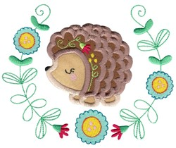 Applique Hedgehog & Laurel embroidery design