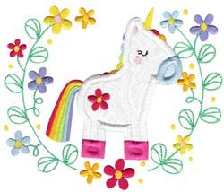 Applique Unicorn & Laurel embroidery design