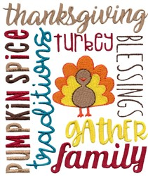Thanksgiving Subway Art embroidery design