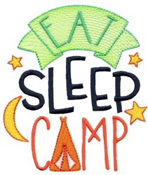 Eat Sleep Camp embroidery design