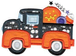 Halloween Vintage Truck embroidery design