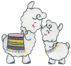 Mother and Baby Llamas embroidery design