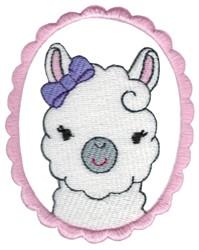 Girl Llama Portrait embroidery design