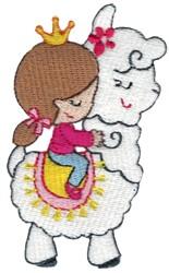 Girl Riding A Llama embroidery design