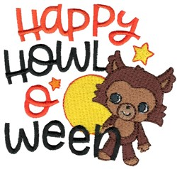 Happy Howloween Werewolf embroidery design