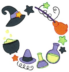 Witch Monogram Frame embroidery design