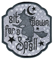 Sit Down For A Spell embroidery design