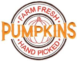 Farm Fresh Pumpkins embroidery design