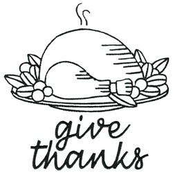 Roast Turkey Give Thanks embroidery design
